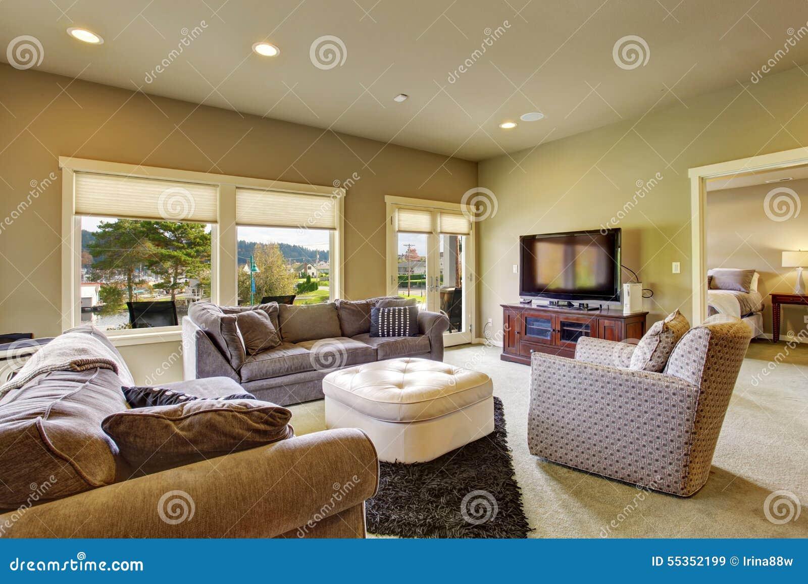 Salone secondario con tappeto e le finestre