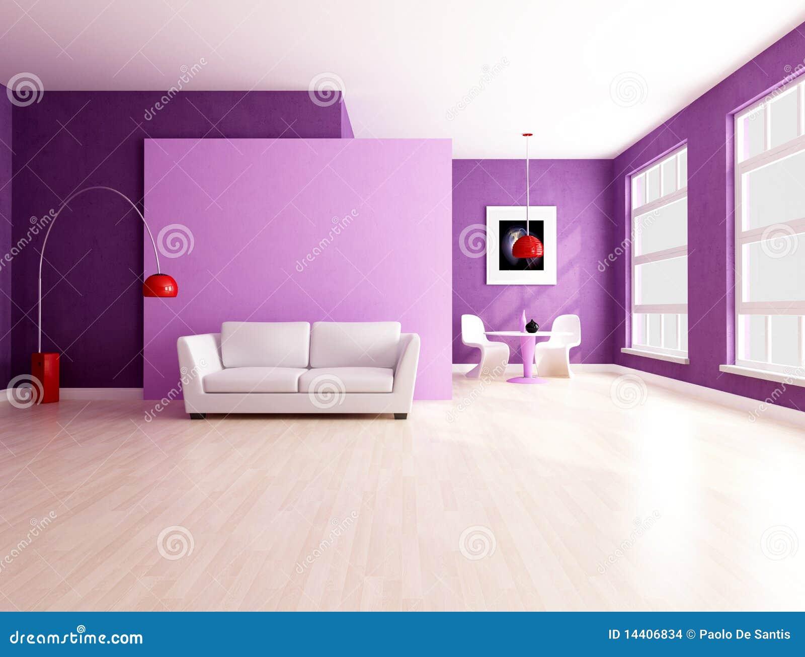 Pareti Viola E Lilla : Salone viola minimalista con pranzare spazio illustrazione di