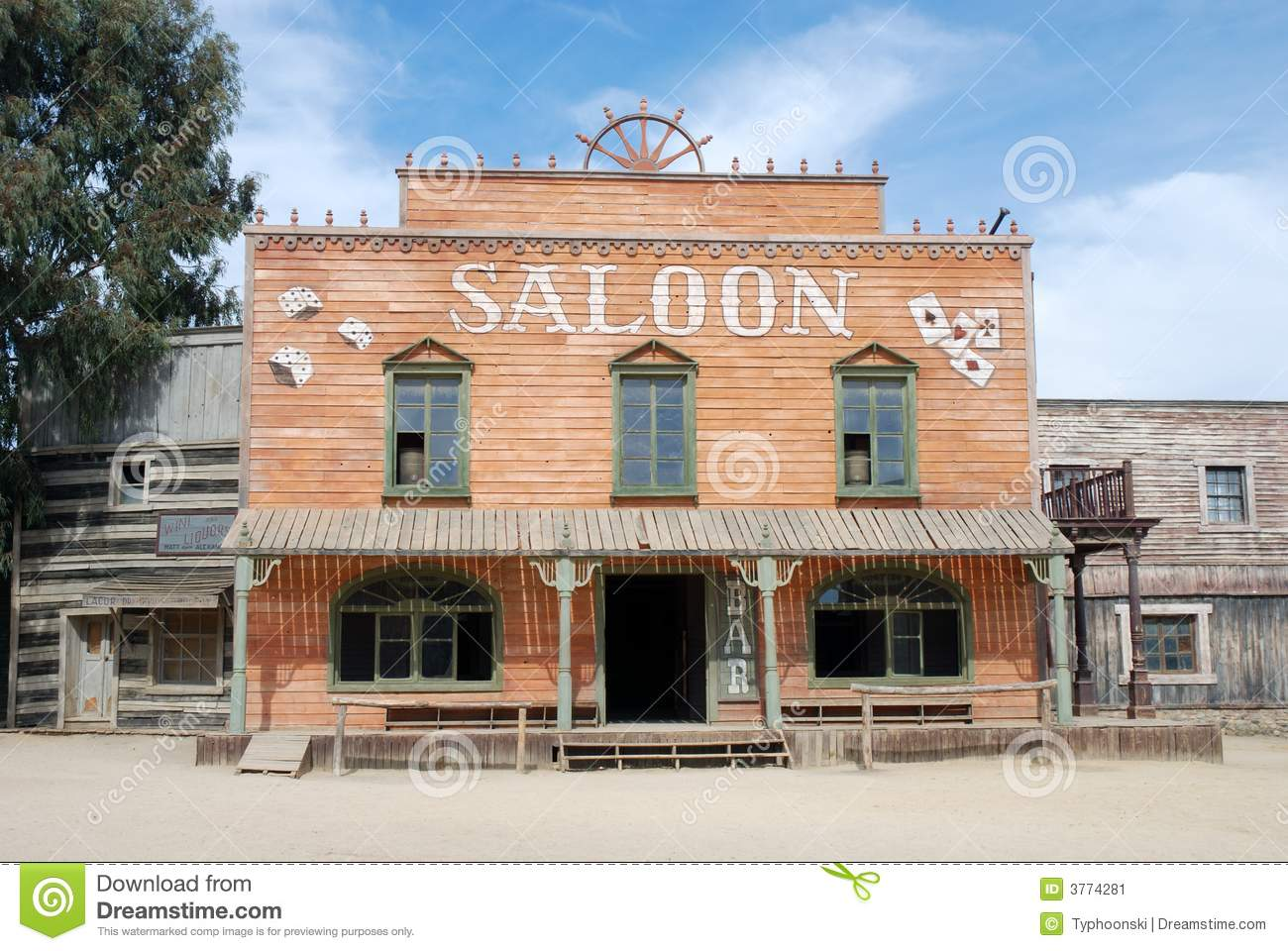 Saloon in an old American town