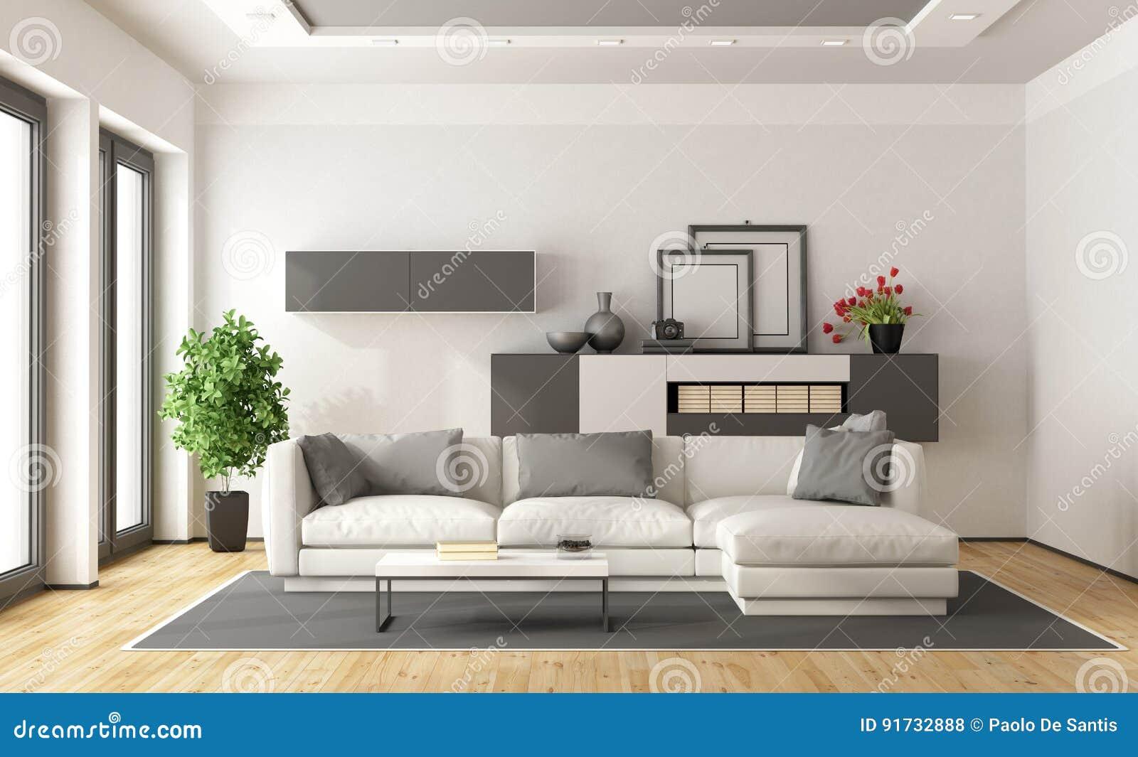 Salotto moderno bianco e grigio illustrazione di stock for Colori pareti salotto moderno