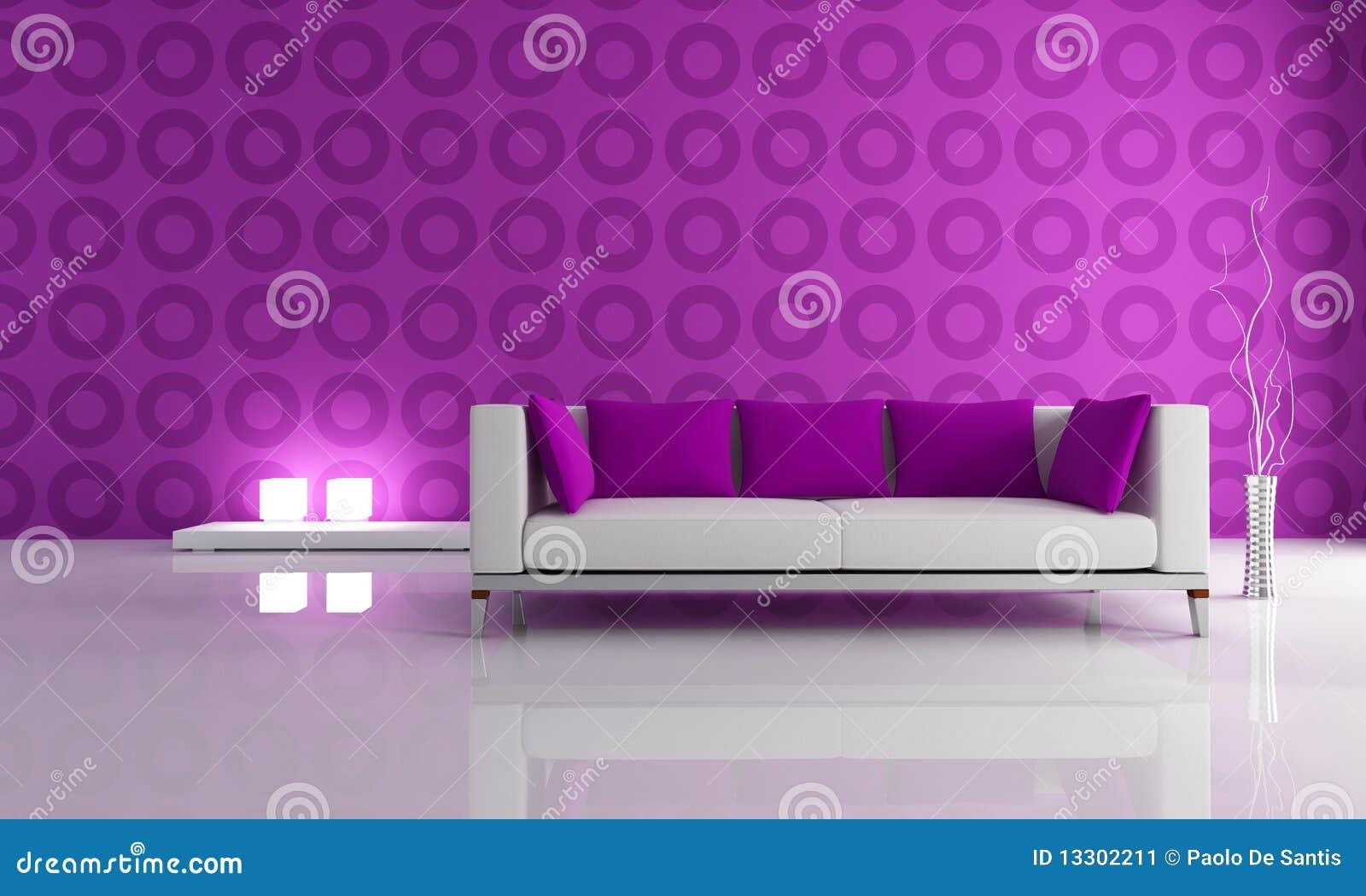 Salotto moderno bianco e viola illustrazione di stock for Salotto moderno bianco
