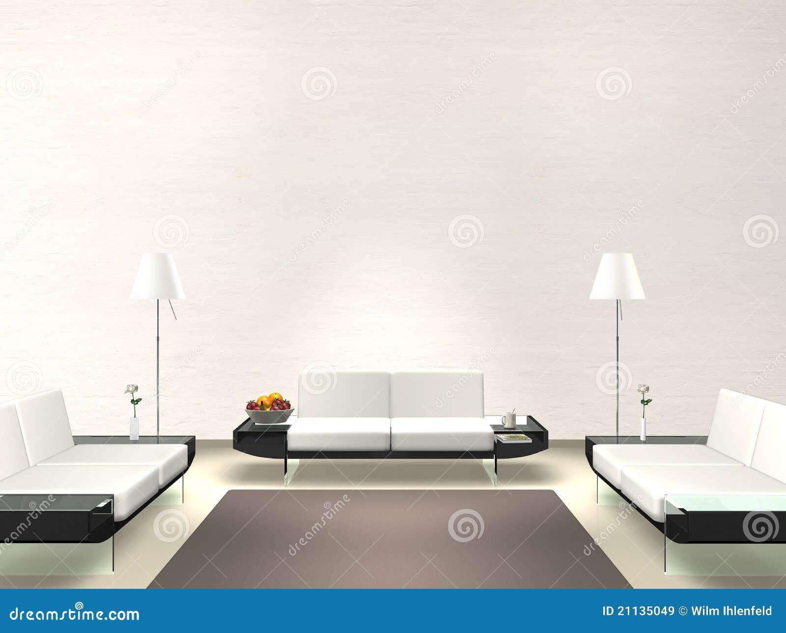 Salotto moderno con la parete bianca immagini stock libere for Parete colorata salotto