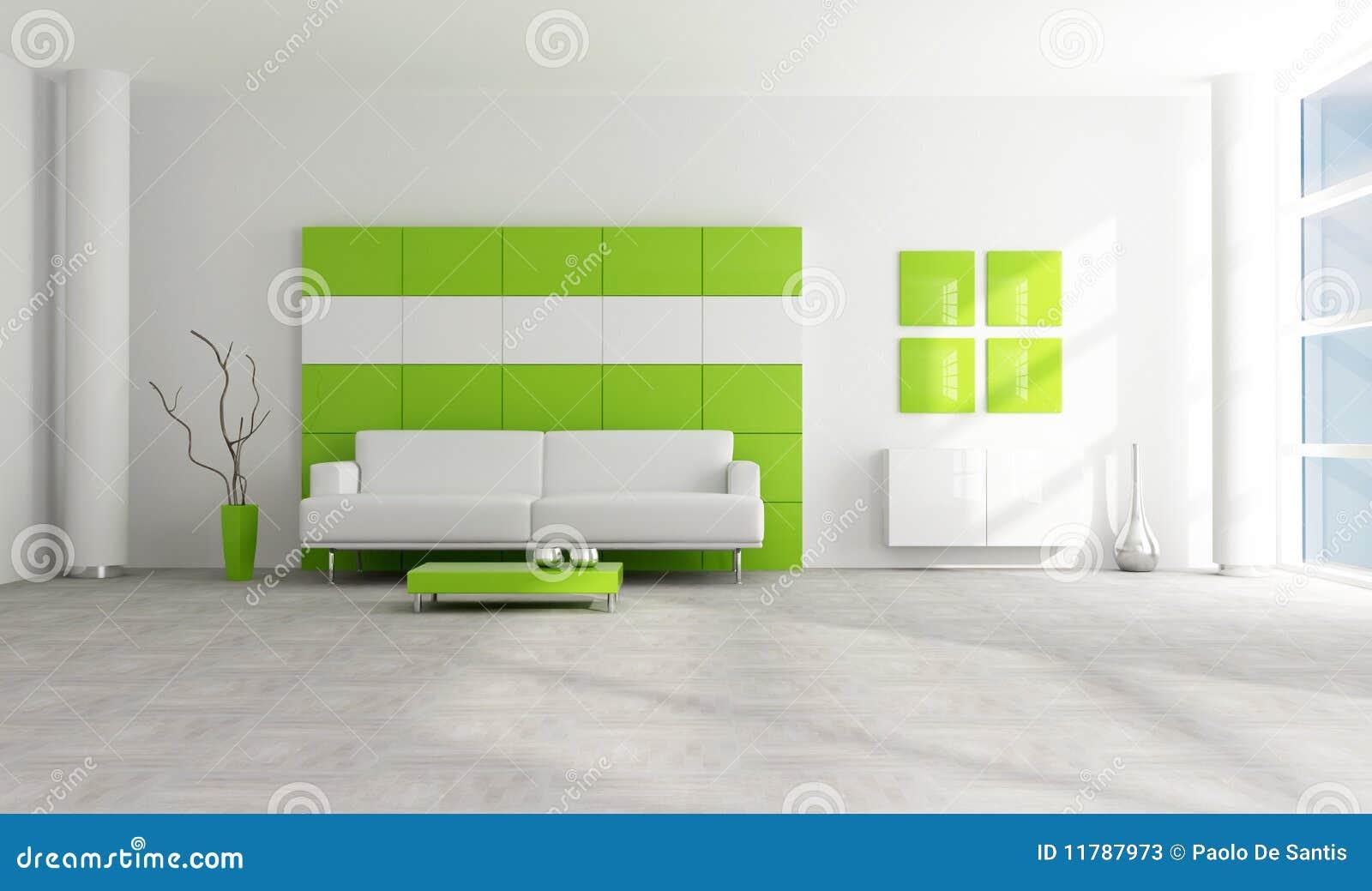 Salotto moderno verde e bianco illustrazione di stock for Salotto moderno bianco