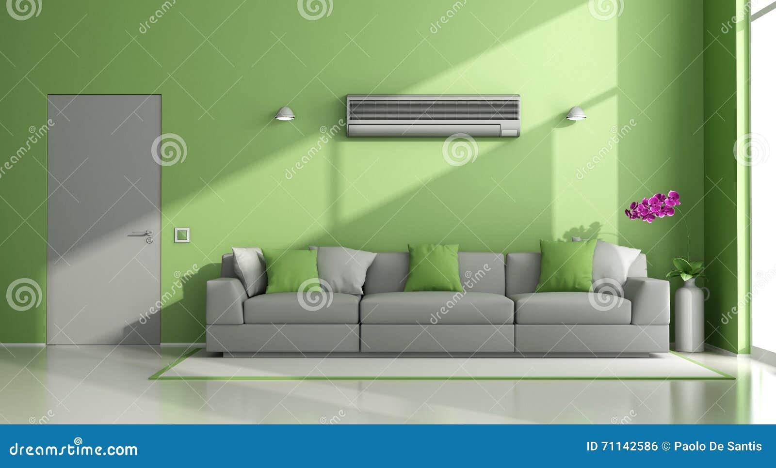Salotto Moderno Verde : Salotto moderno verde e grigio con il condizionatore d aria