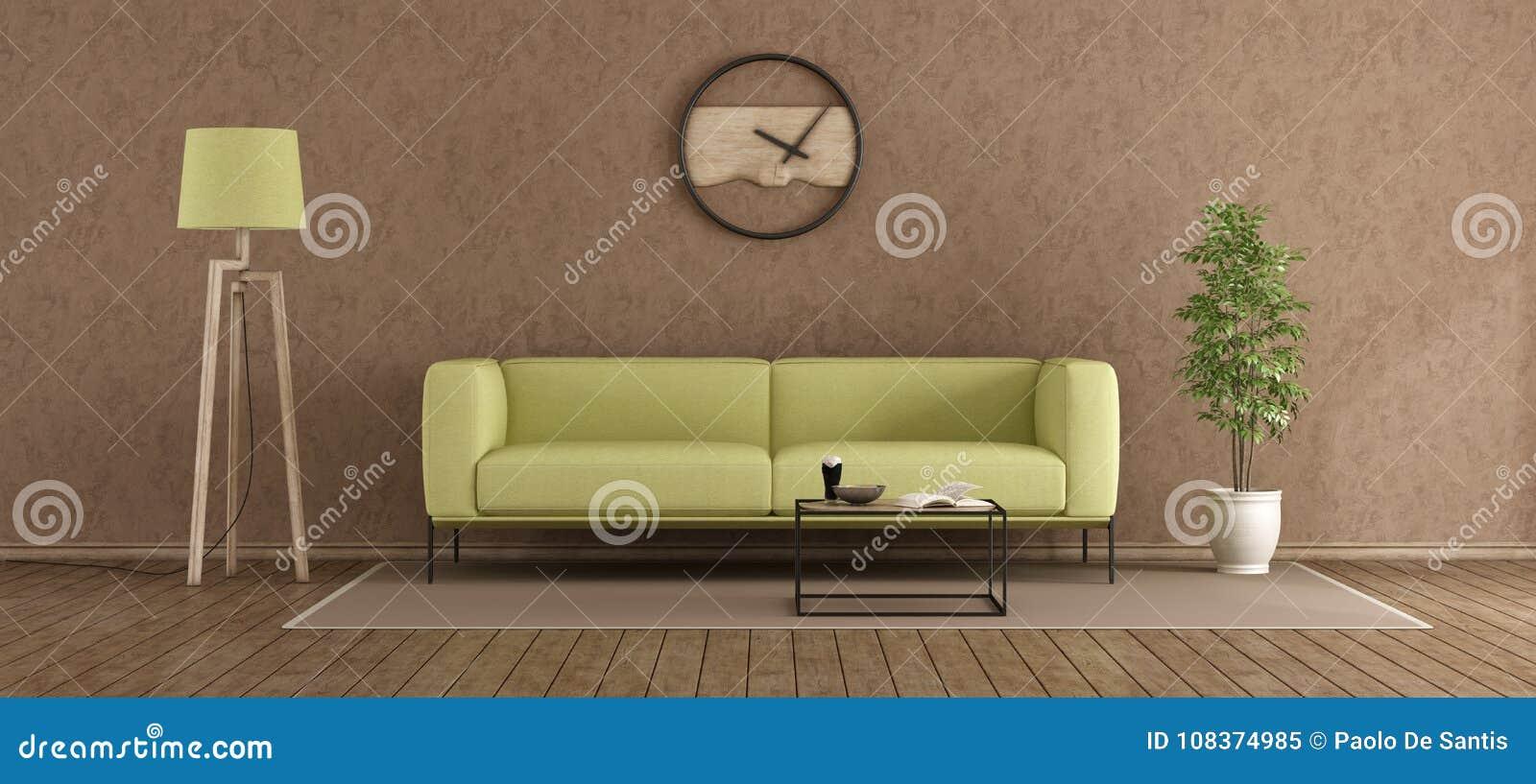 Salotto Moderno Verde : Salotto moderno verde e marrone illustrazione di stock