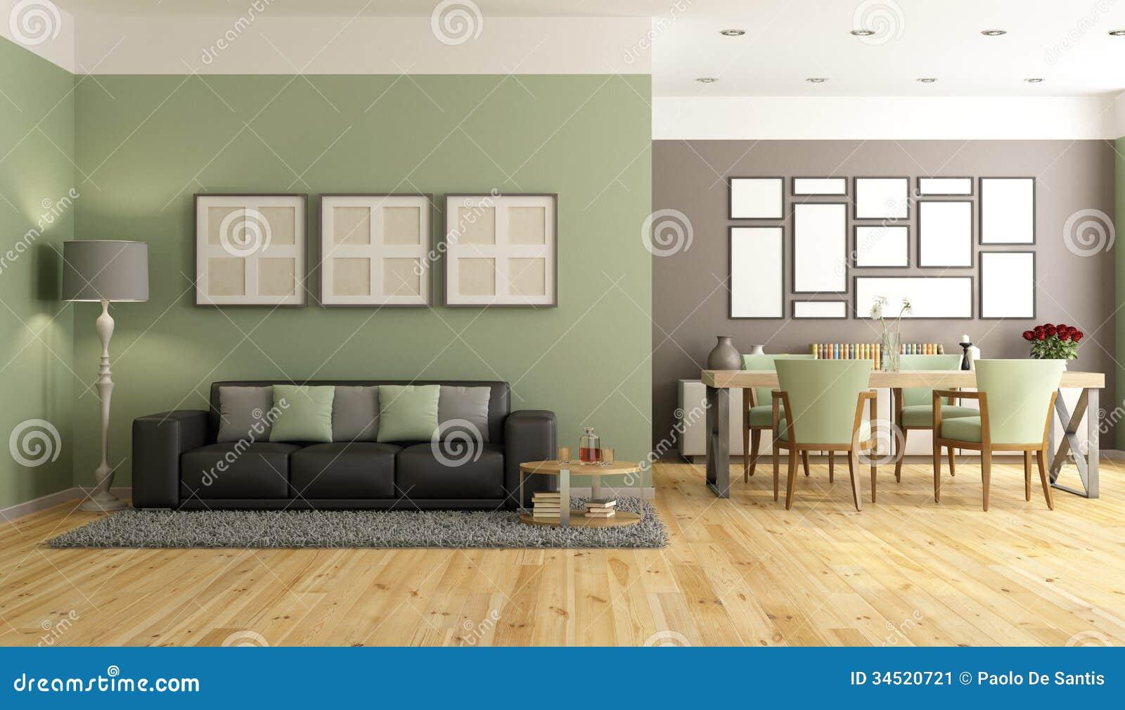 Salotto moderno verde e marrone illustrazione di stock for Colori pareti salotto moderno