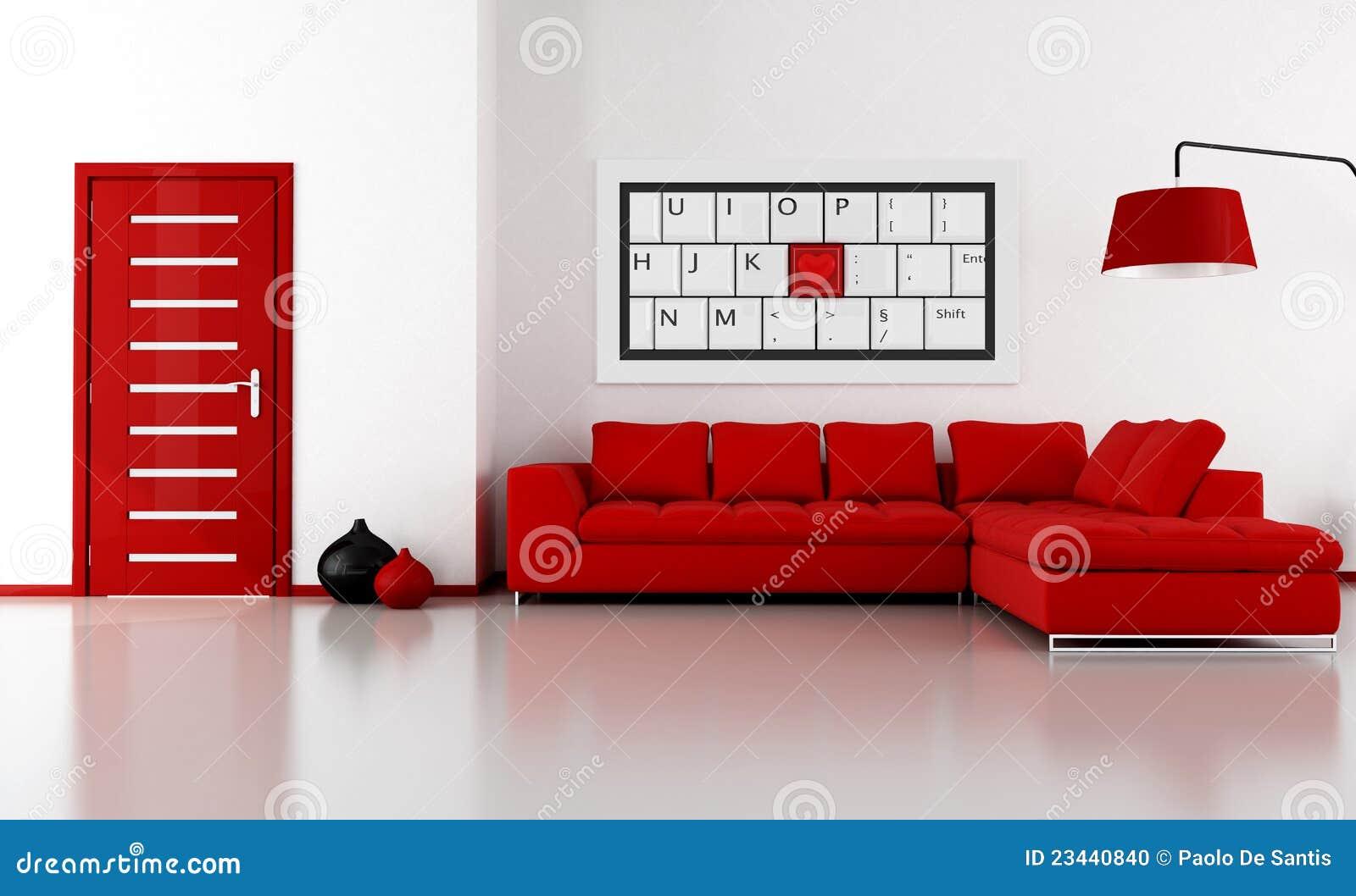 Salotto Rosso E Bianco Fotografia Stock - Immagine: 23440840