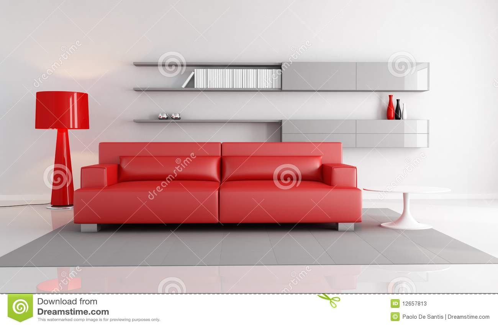 Salotto Rosso E Grigio Fotografie Stock - Immagine: 12657813