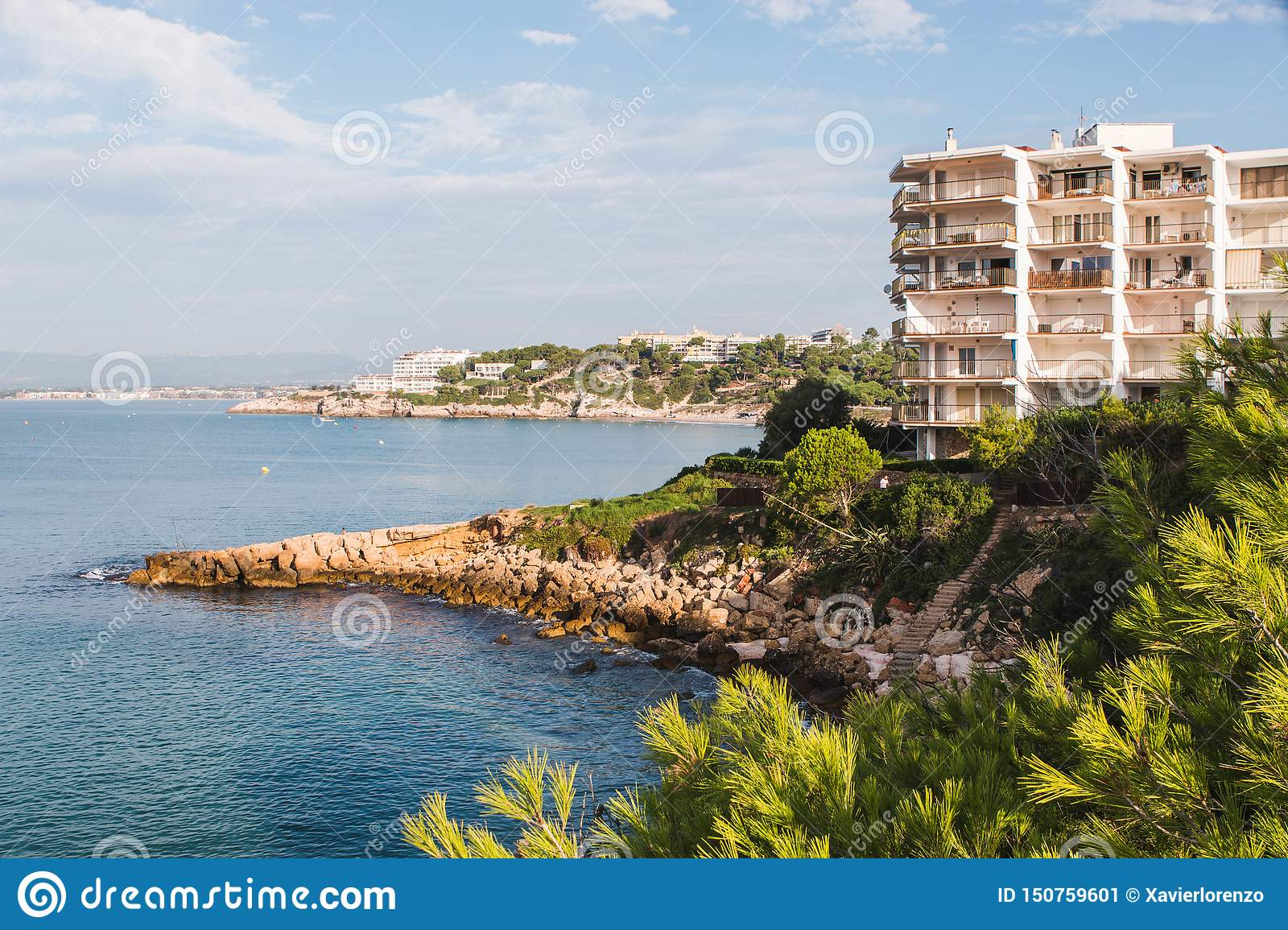 Salou beach in summer. Province of Tarragona, Catalonia, Spain