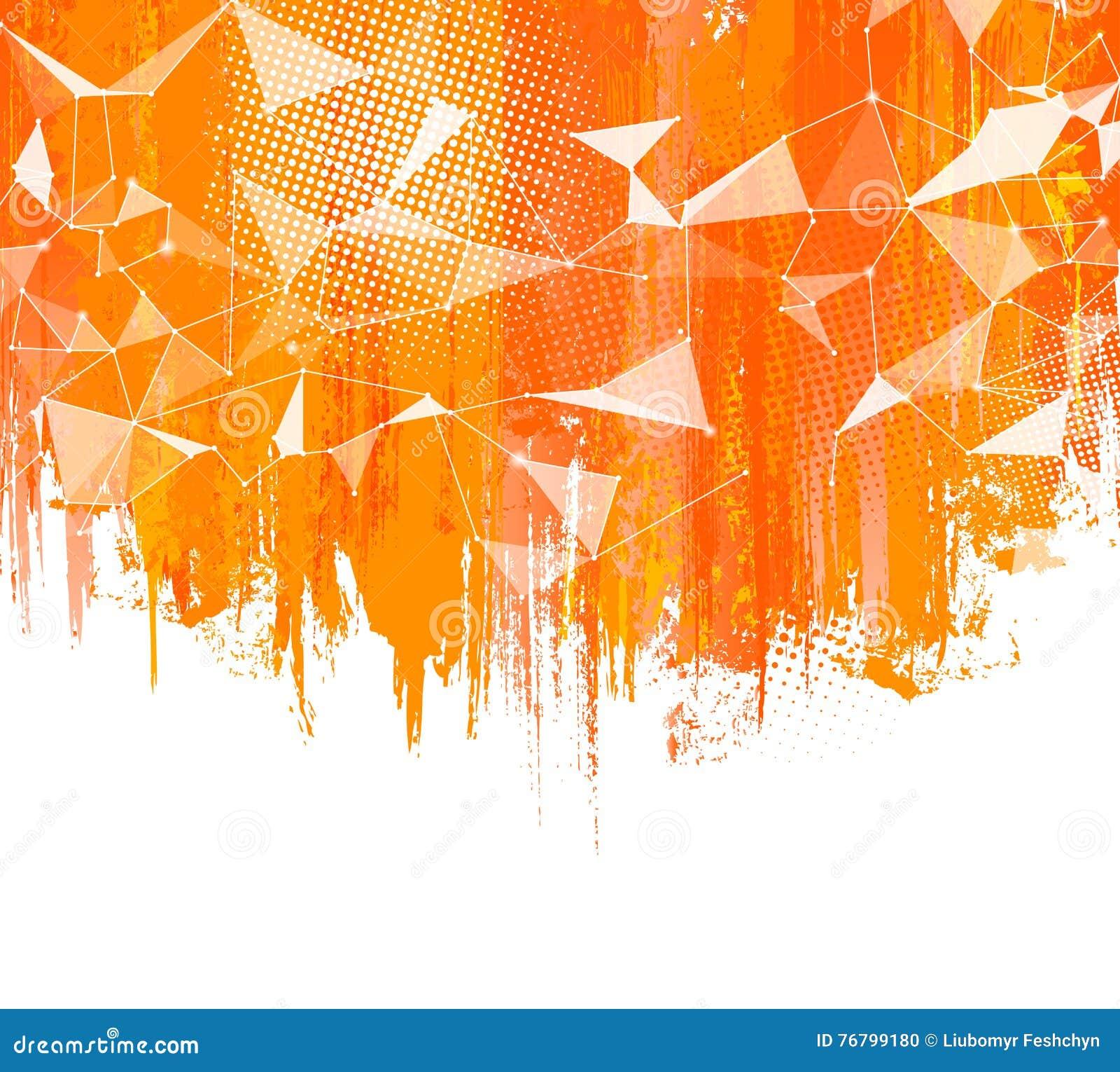 Salpica el fondo anaranjado El extracto creativo con el chapoteo colorido, tono medio doted los elementos y diseño triangular