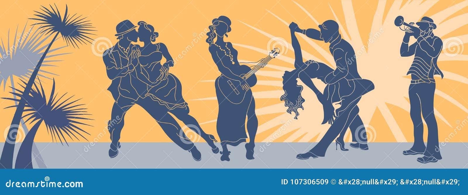 Salsa dance vector.Tango couple vector. Couple dancing salsa. Argentine tango.Web background salsa latino.Salsa music party banner