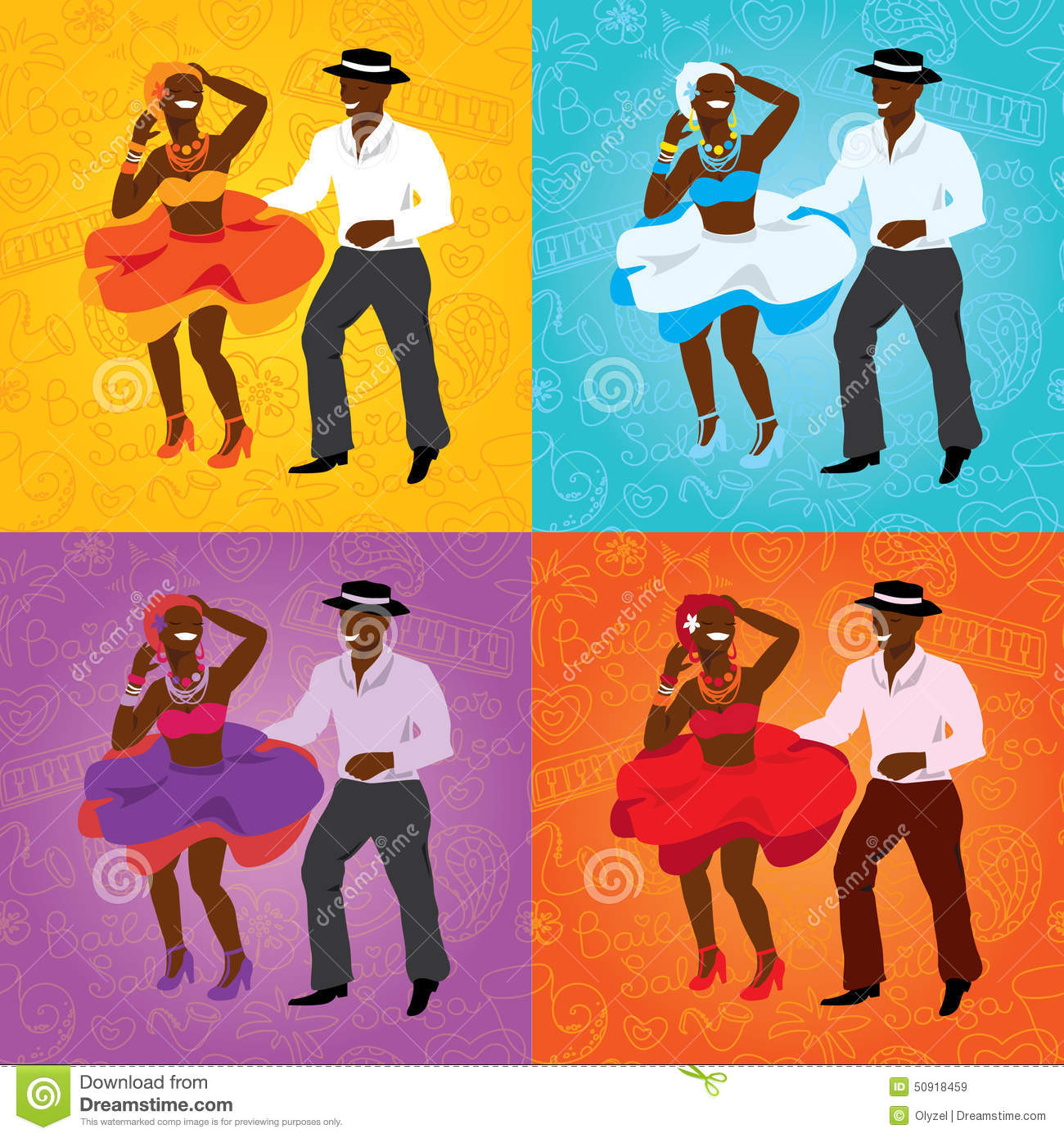 Salsa Dancing Poster For The Party  Cuban Couple, Palms, Musical