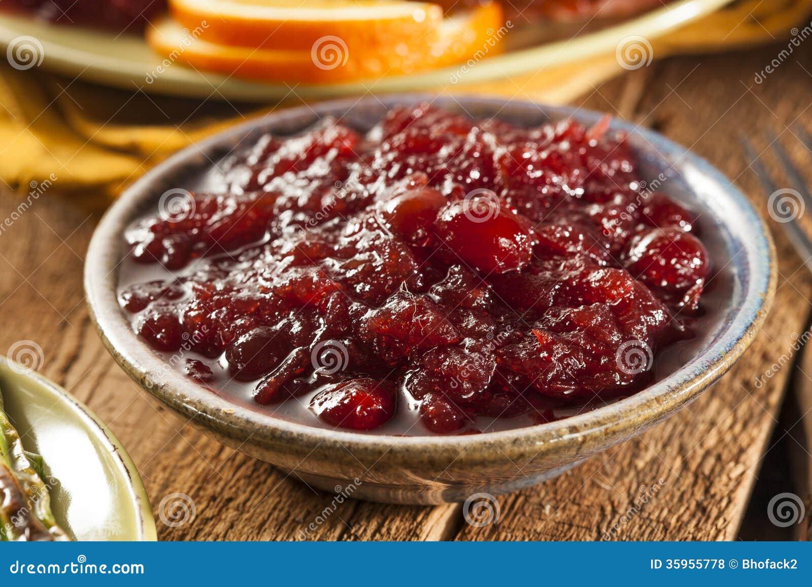 Salsa de arándano hecha en casa roja