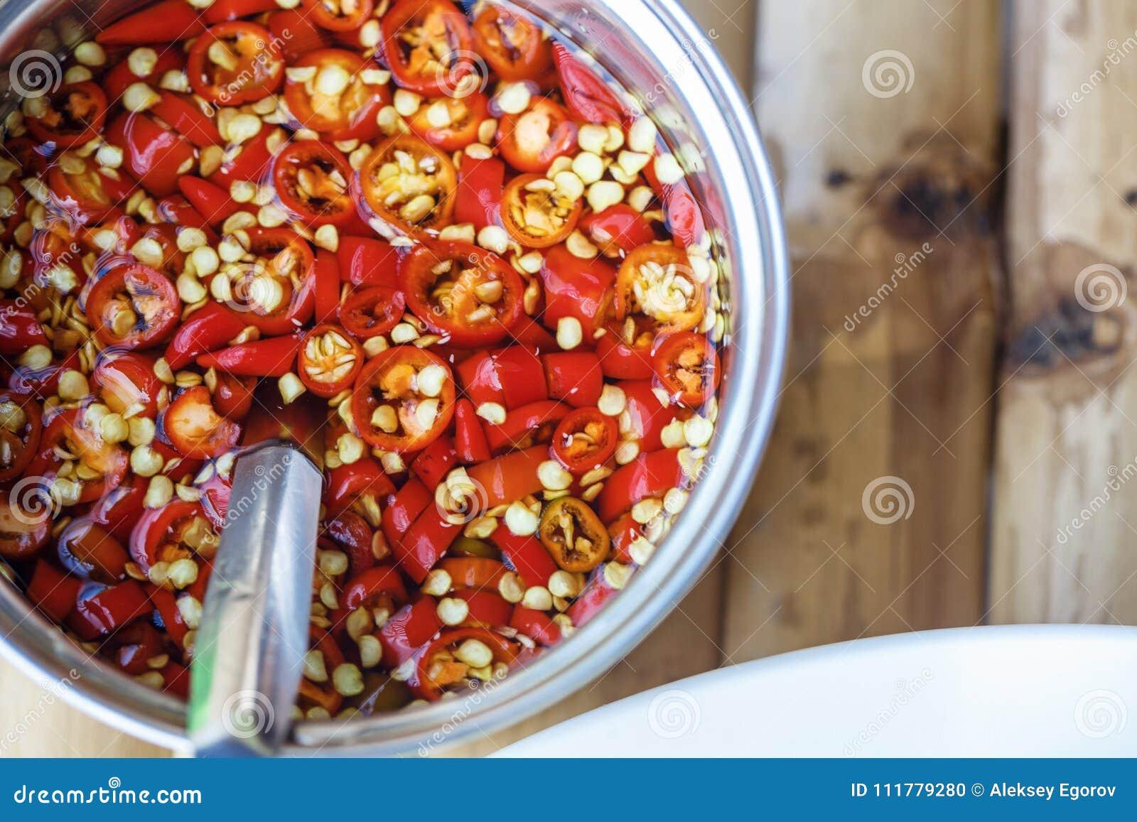 Salsa de la pimienta de chile rojo