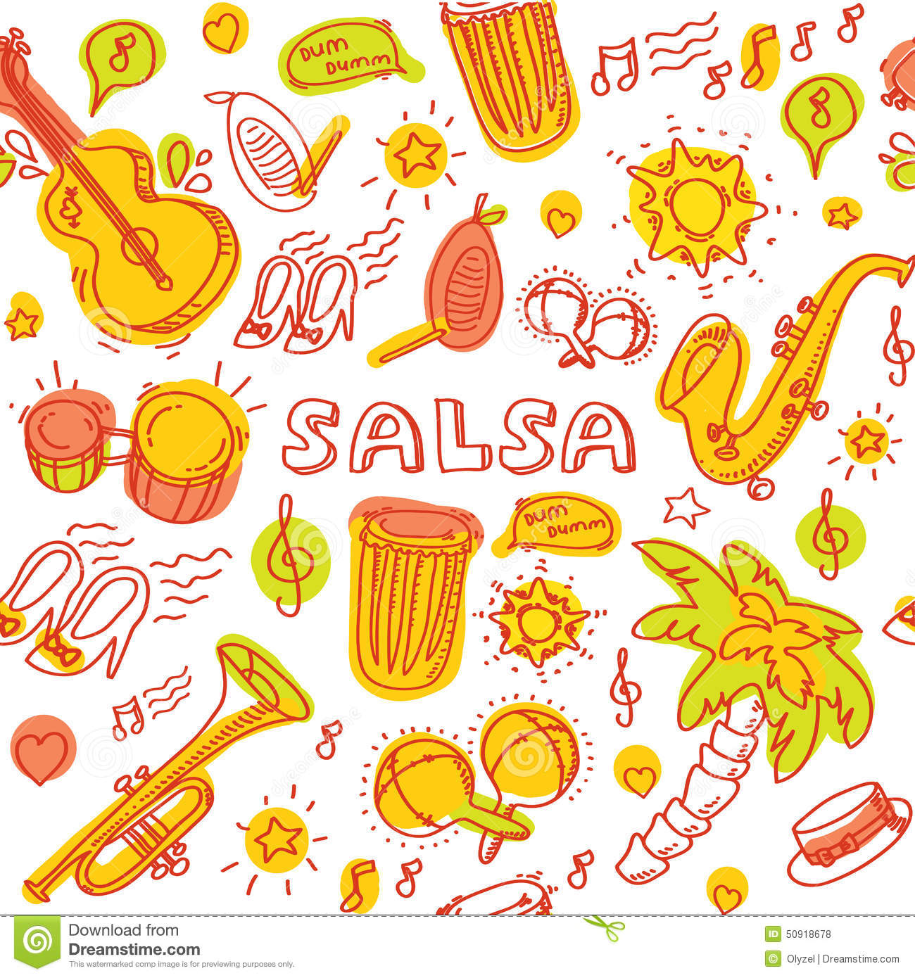 Salsa Music And Dance Illustration With Musical Instruments, Palms ...