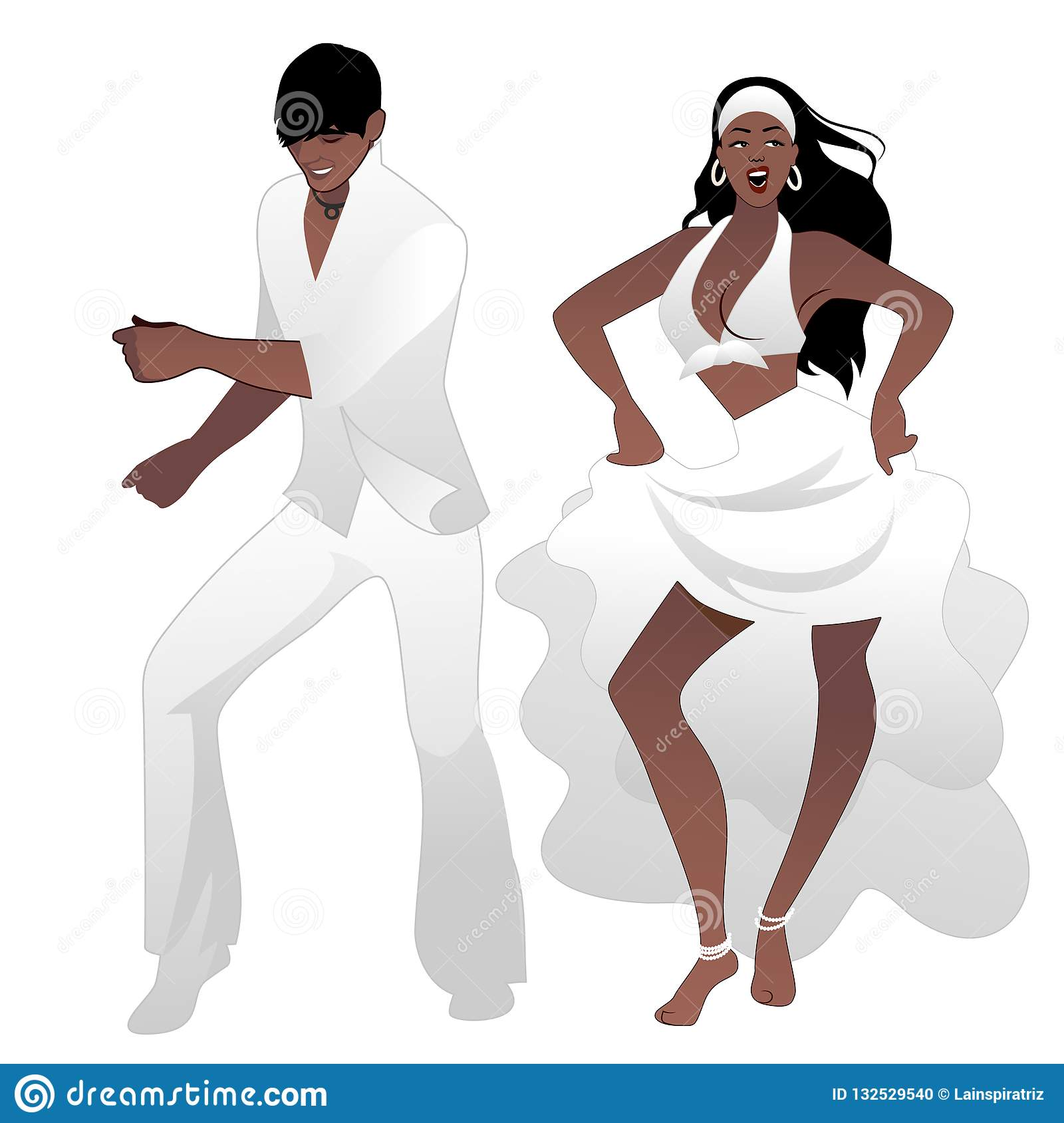 Salsa Party Time. Young couple dancing latin music