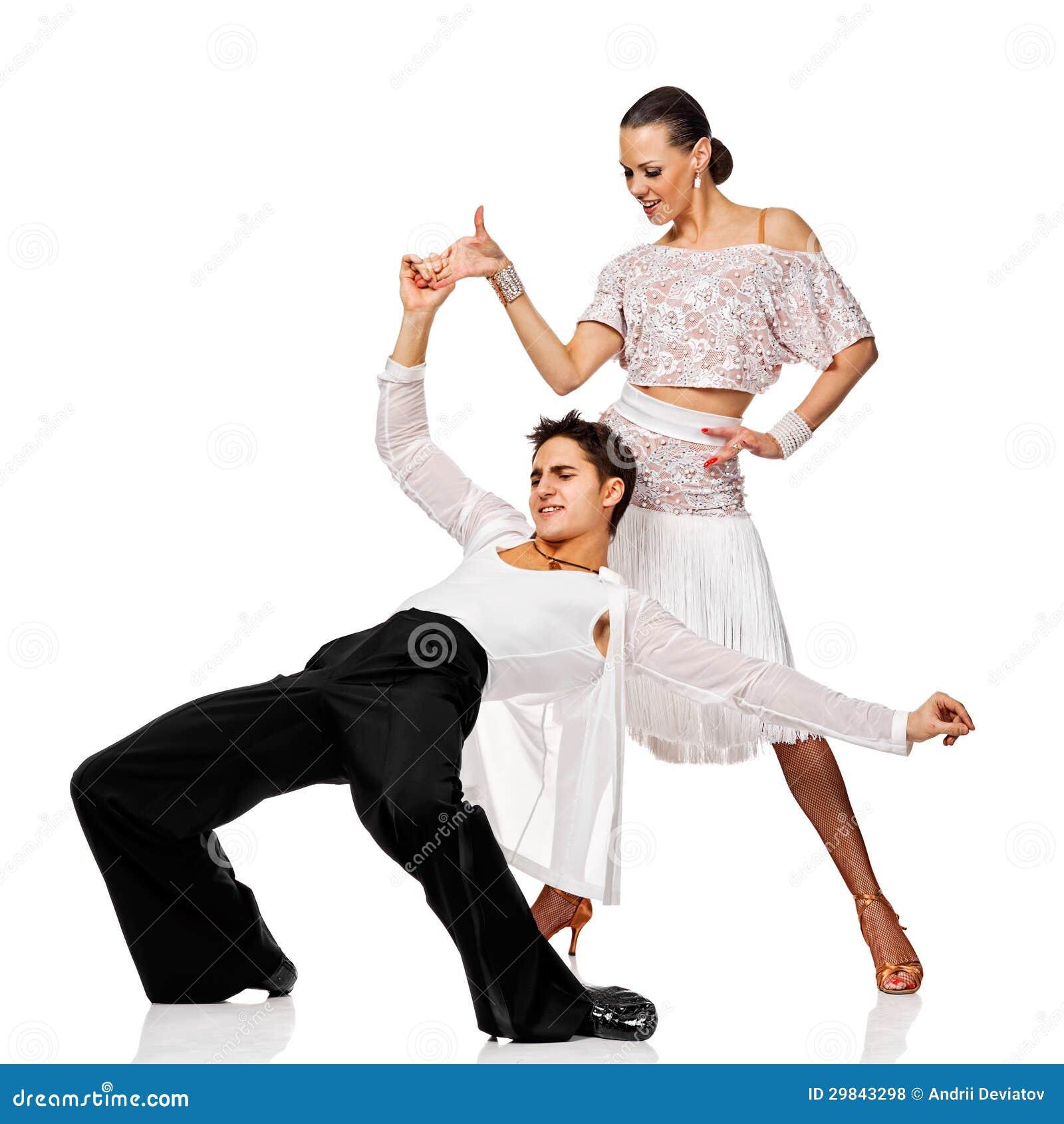 Salsa sensual da dança dos pares. Dançarinos do Latino na ação. Isolado