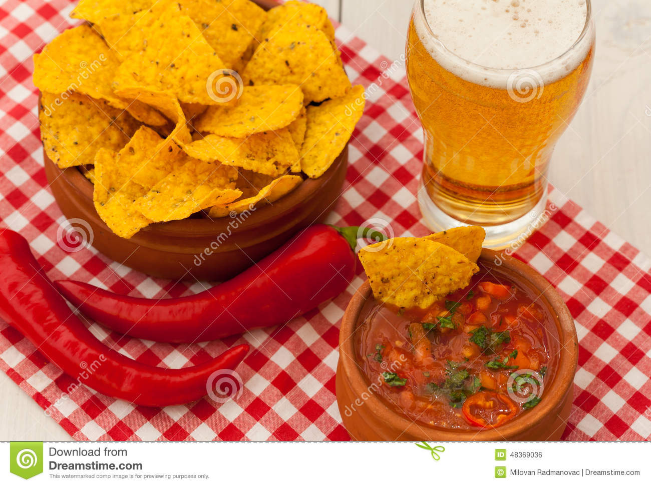 Salsa With Tortilla Chips And Glass Of Beer Stock Photo Image Of