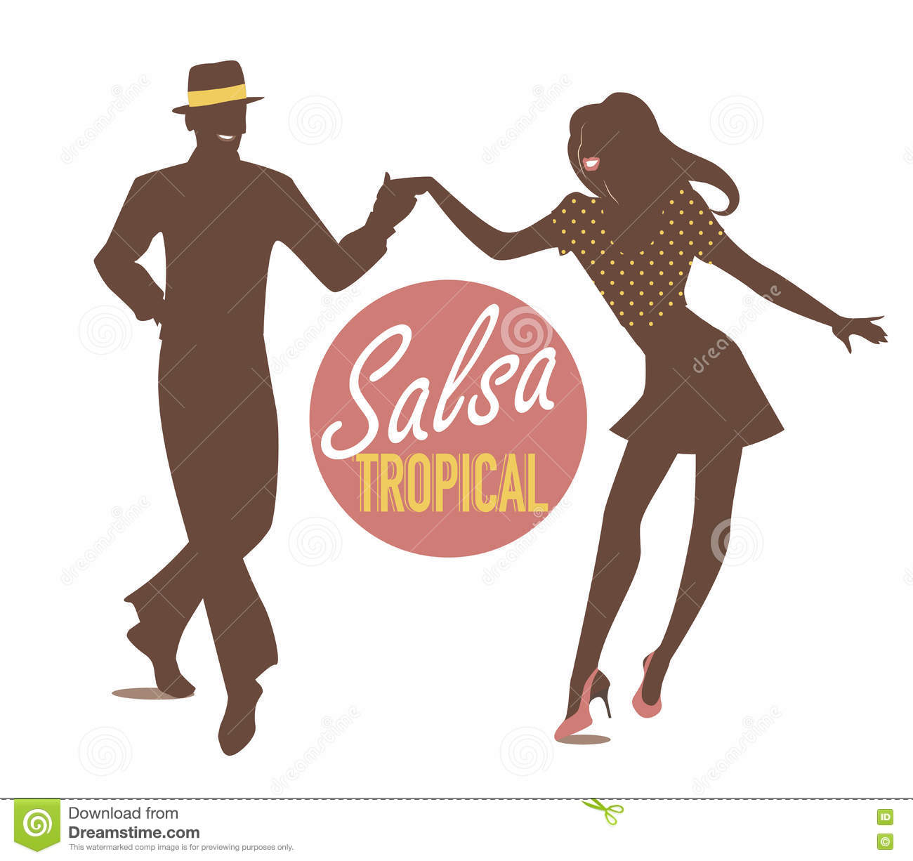 young couple silhouettes dancing salsa or latin music royalty free cartoon. Black Bedroom Furniture Sets. Home Design Ideas