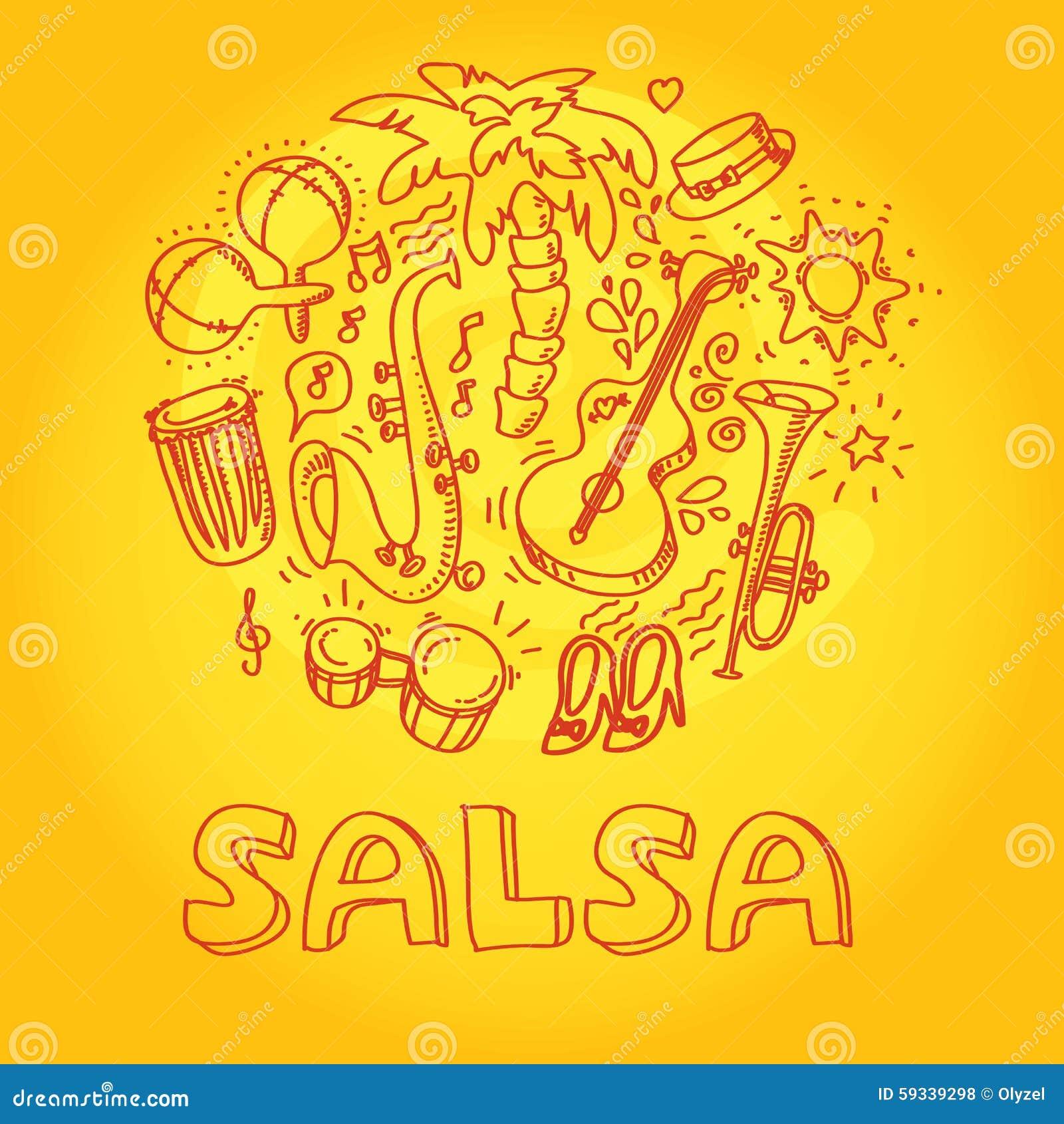 Salsamusik Och Dansillustration Med Musikal Vektor Illustrationer