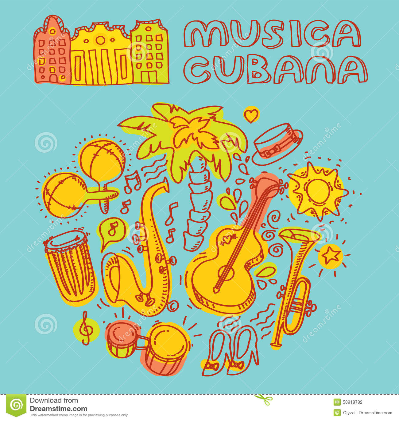 Salsamusik Och Dansillustrationen Med Musikinstrument Gömma I
