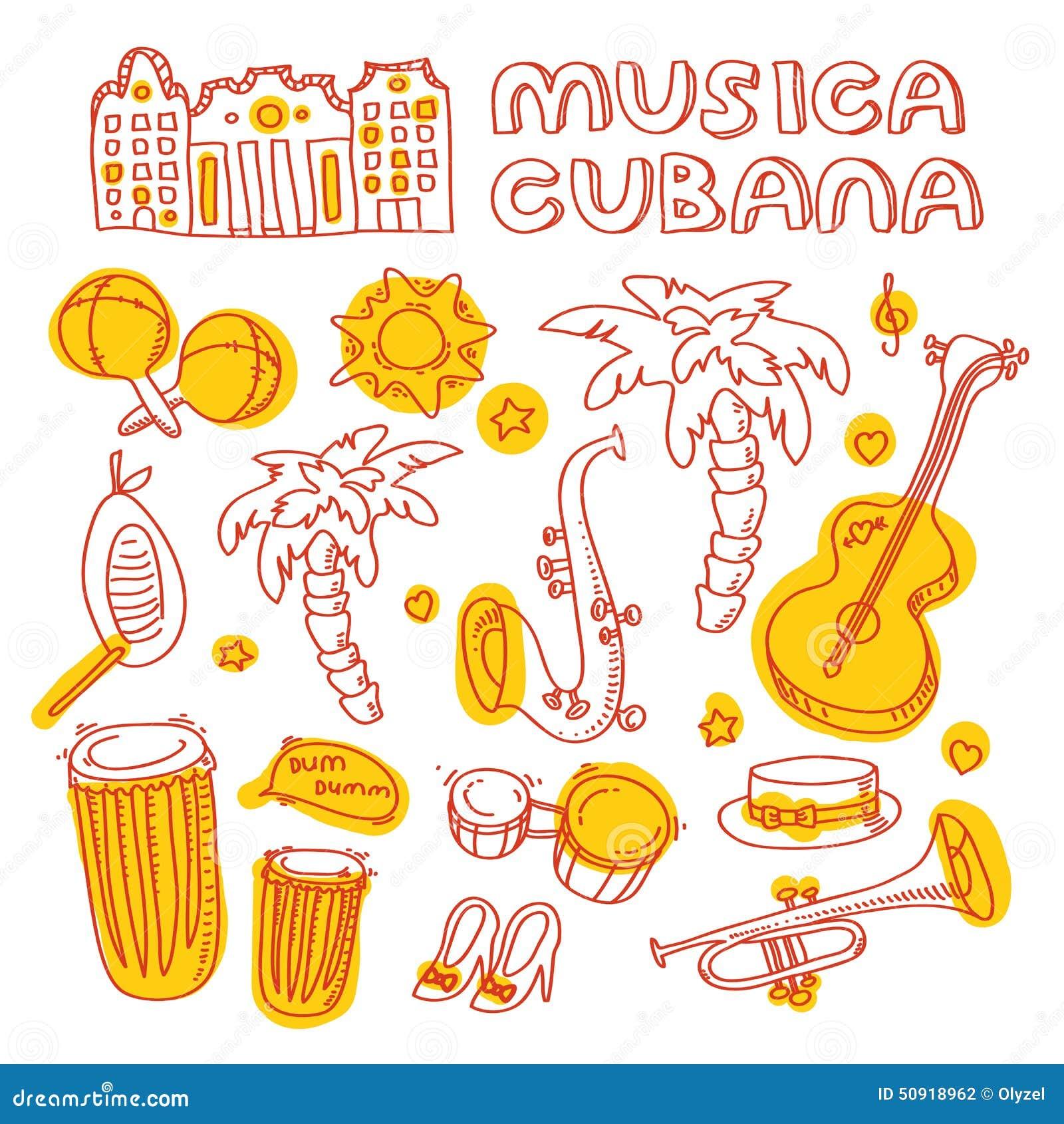 Salsamusik Und Tanzillustration Mit Musikinstrumenten Palmen Usw