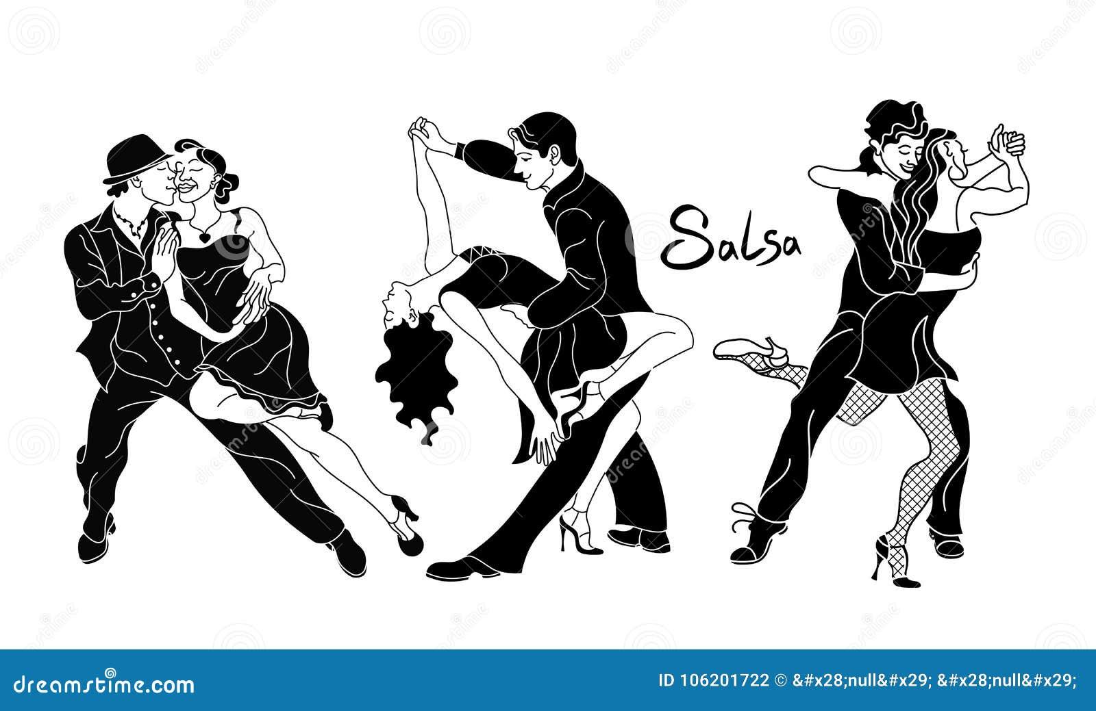 Salsaparteiplakat Satz elegante Paartanzensalsa Retro- Art Schwarze Schattenbilder der tanzenden Salsa und der Musiker der Leute