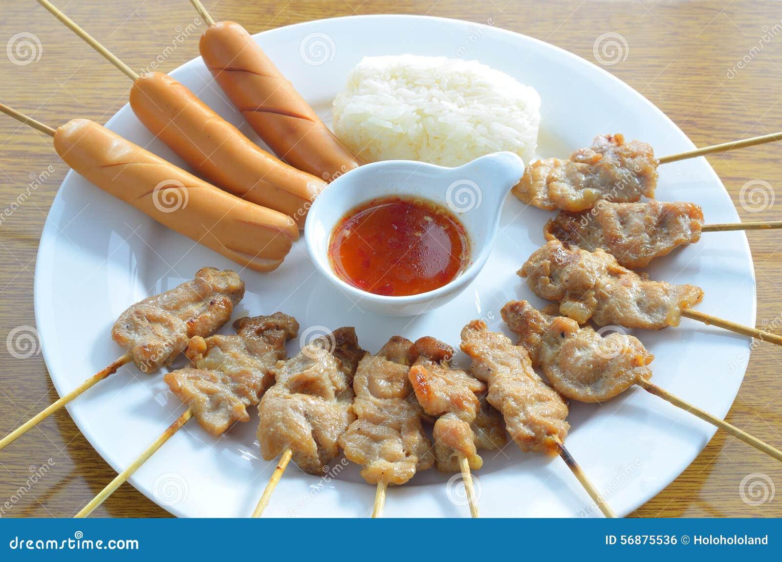Salsiccia arrostita della carne di maiale arrostita