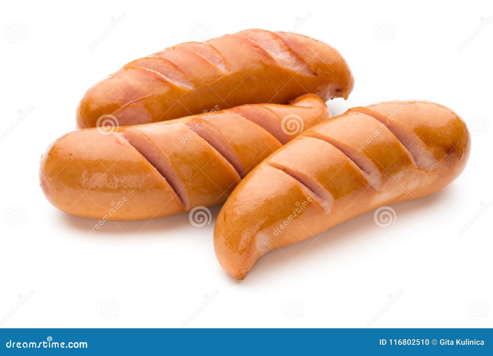 Salsiccia di maiale isolata su fondo bianco
