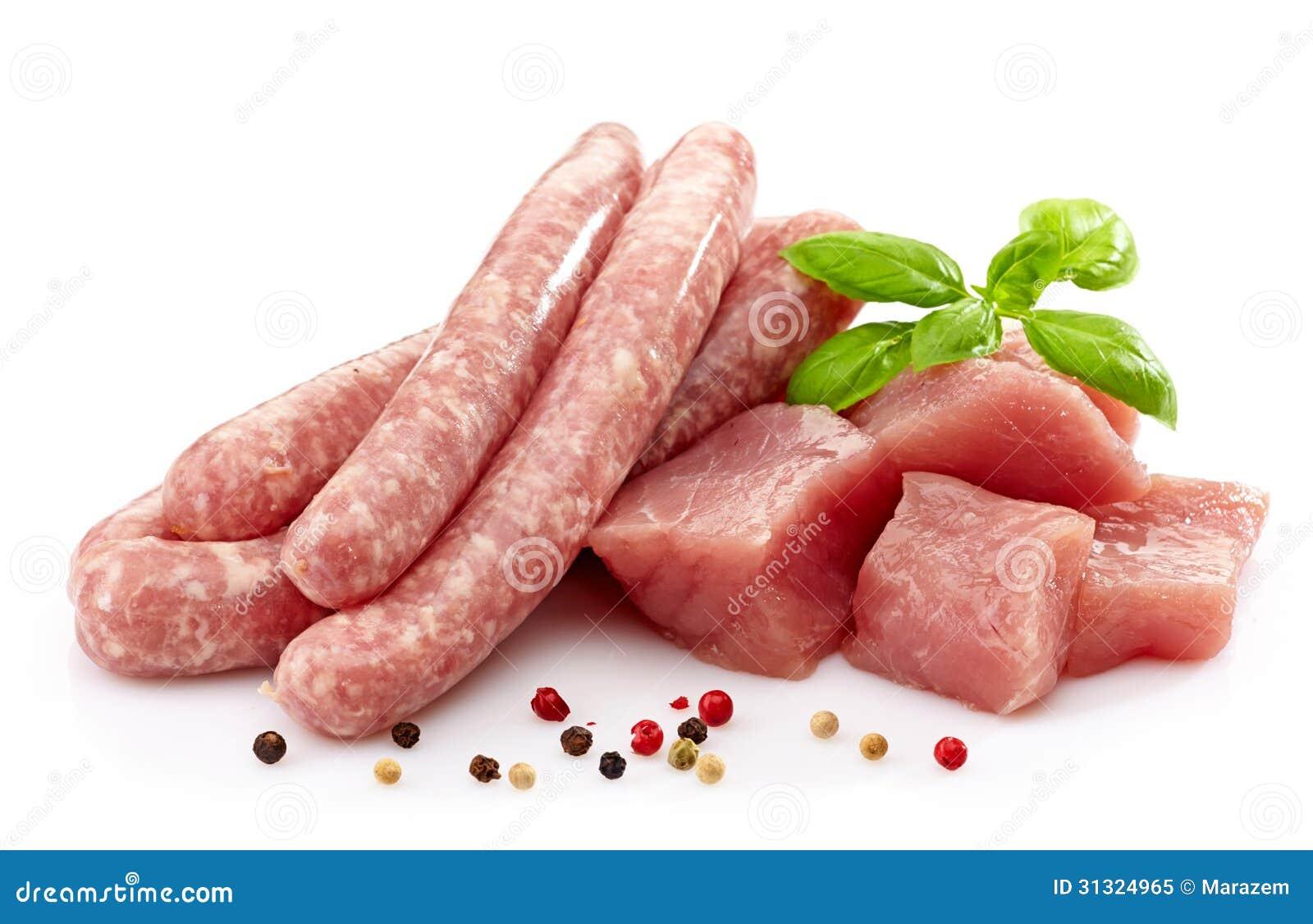 Salsiccie e carne crude fresche