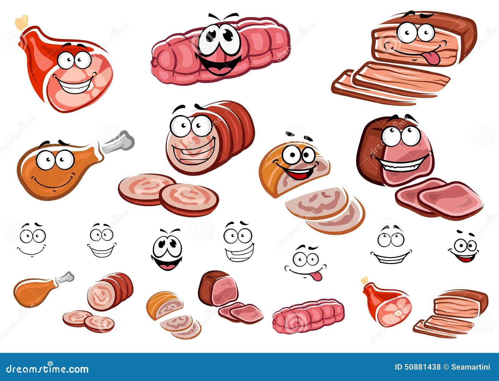 Salsiccie E Personaggi Dei Cartoni Animati Della Carne