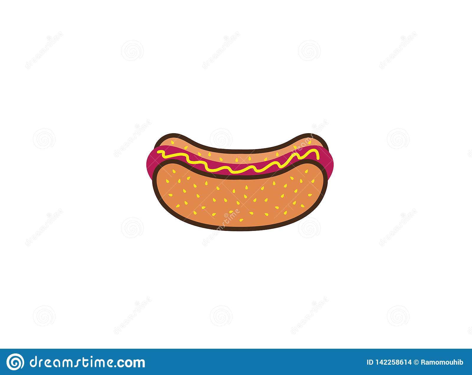 Salsicha e ketchup do witn do sanduíche do Hotdog para o projeto do logotipo