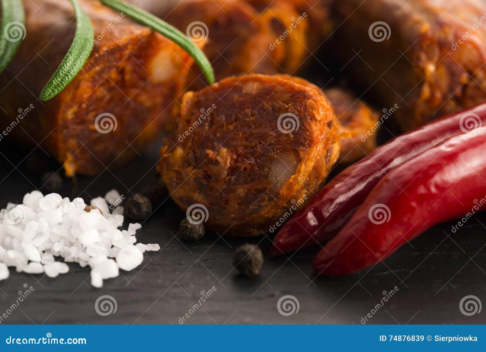 Salsicha tradicional espanhola do chouriço