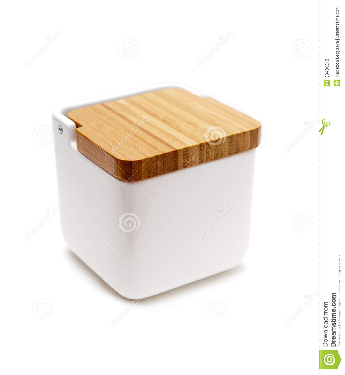 Salt Container With Wooden Lid Stock Photo Image 30409210