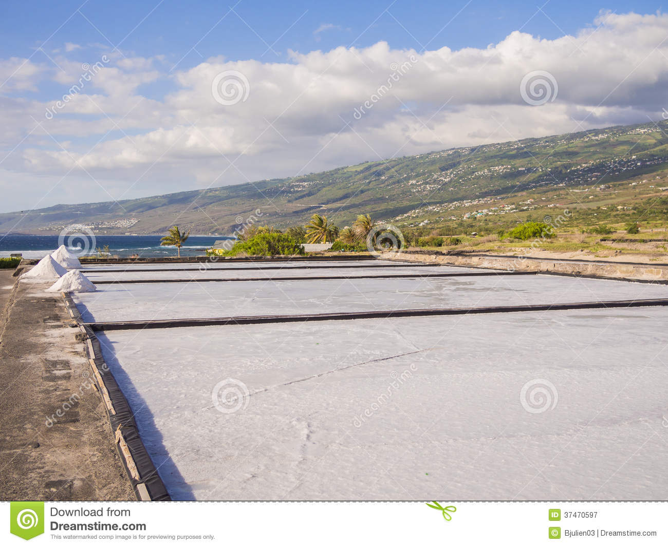Salt evaporation pond and pile of salt royalty free stock for Design of evaporation pond