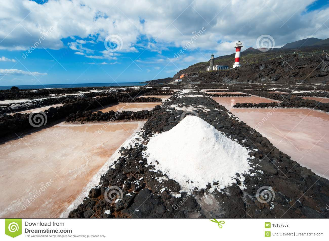 Salt evaporation ponds and lighthouses la palma royalty for Design of evaporation pond