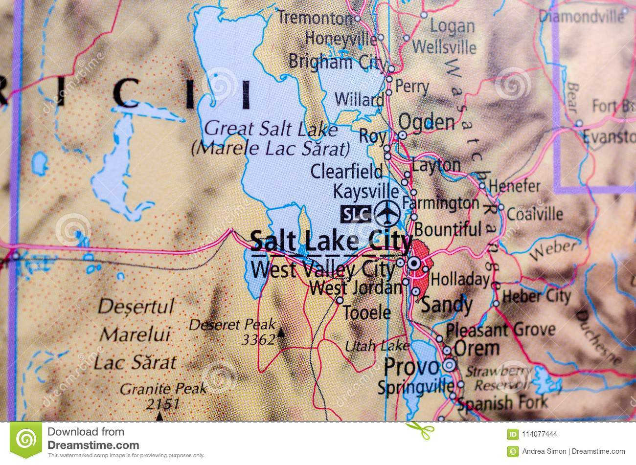 Salt Lake City on map stock photo. Image of maps, harbour ...