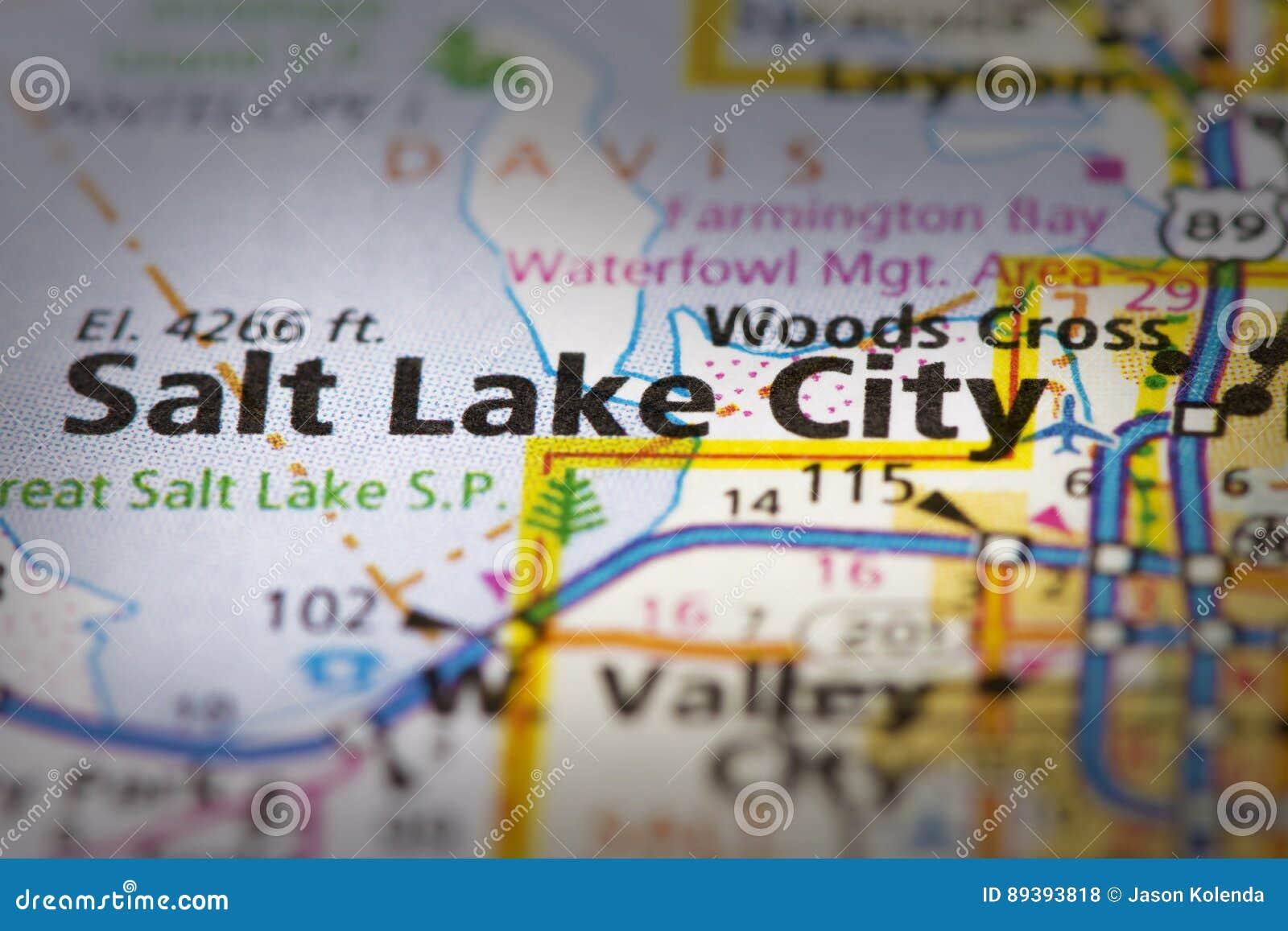 Salt Lake City Utah On Map Stock Photo Image Of States Paper