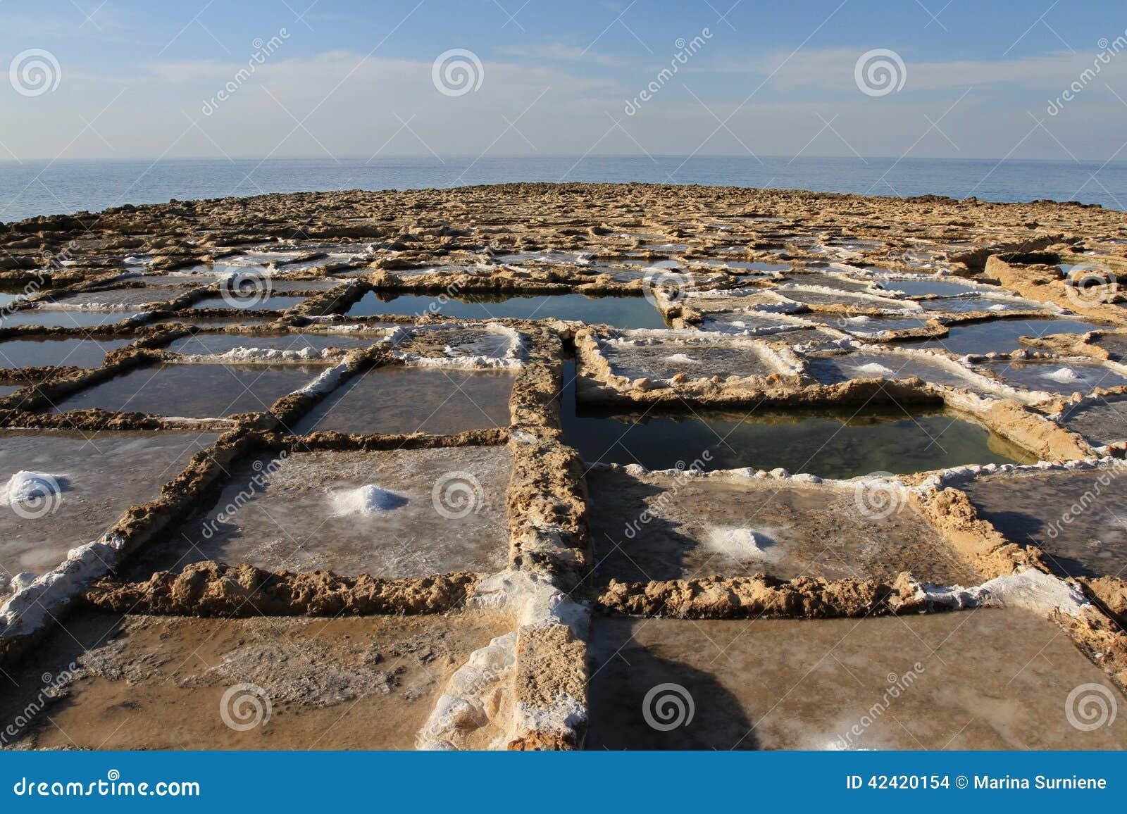 Salt pans stock photo image 42420154 for Design of evaporation pond