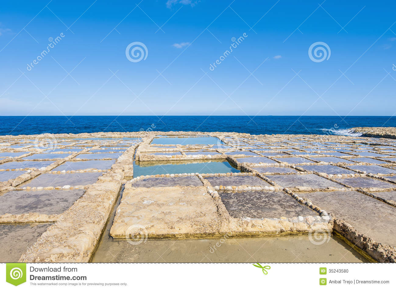 Salt pans near qbajjar in gozo malta stock photo image for Design of evaporation pond