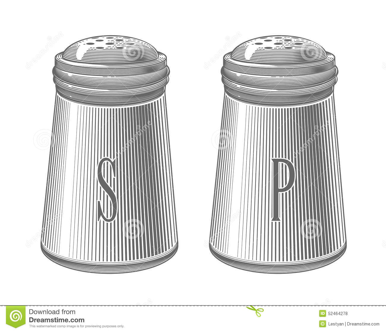 Salt And Pepper Shakers In Engraving Style Stock Vector