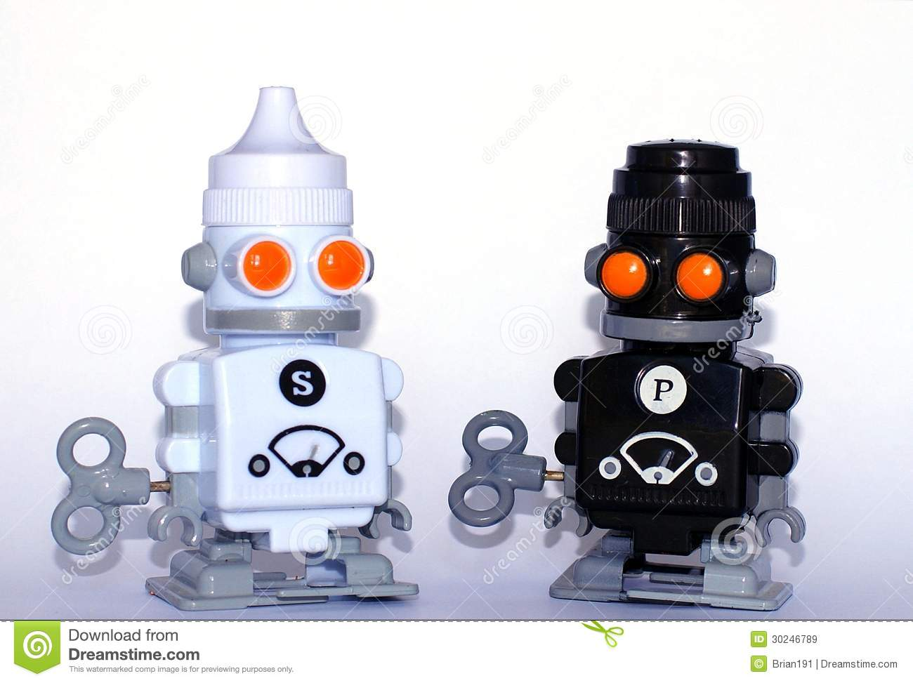 Salt and pepper robots royalty free stock images image Salt and pepper robots
