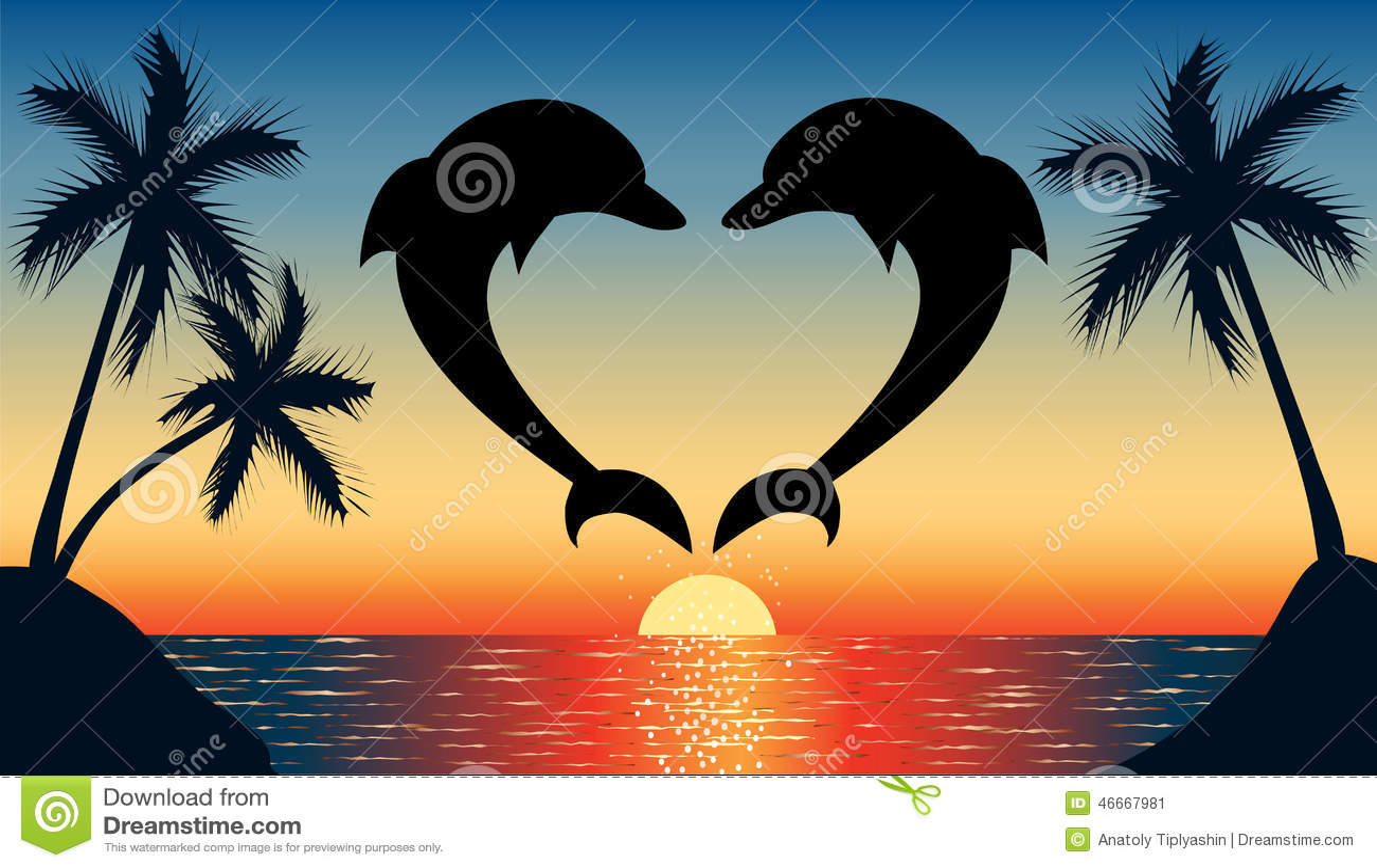Saltando sul cuore a forma di del delfino con il tramonto for Disegni da colorare con cuori