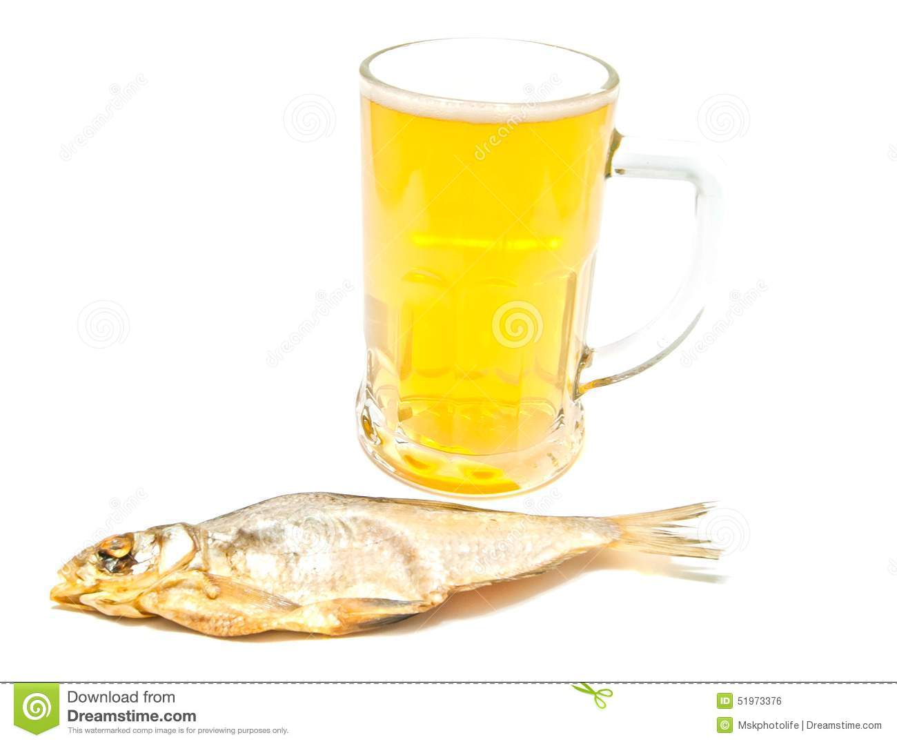 Salted fish and glass of beer