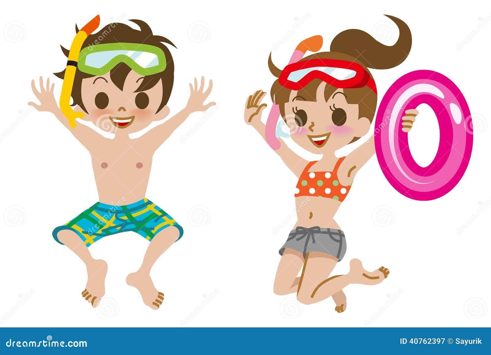 Salto De Los Niños Del Traje De Baño Aislado