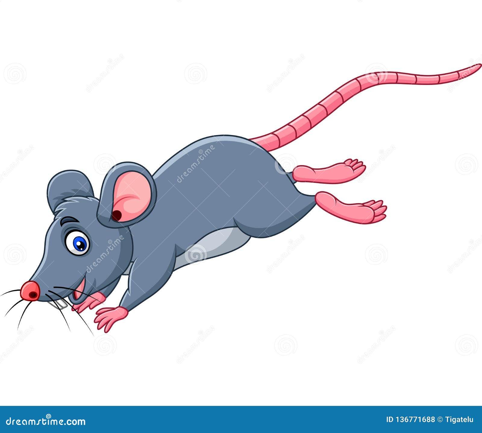 Salto divertido del ratón de la historieta