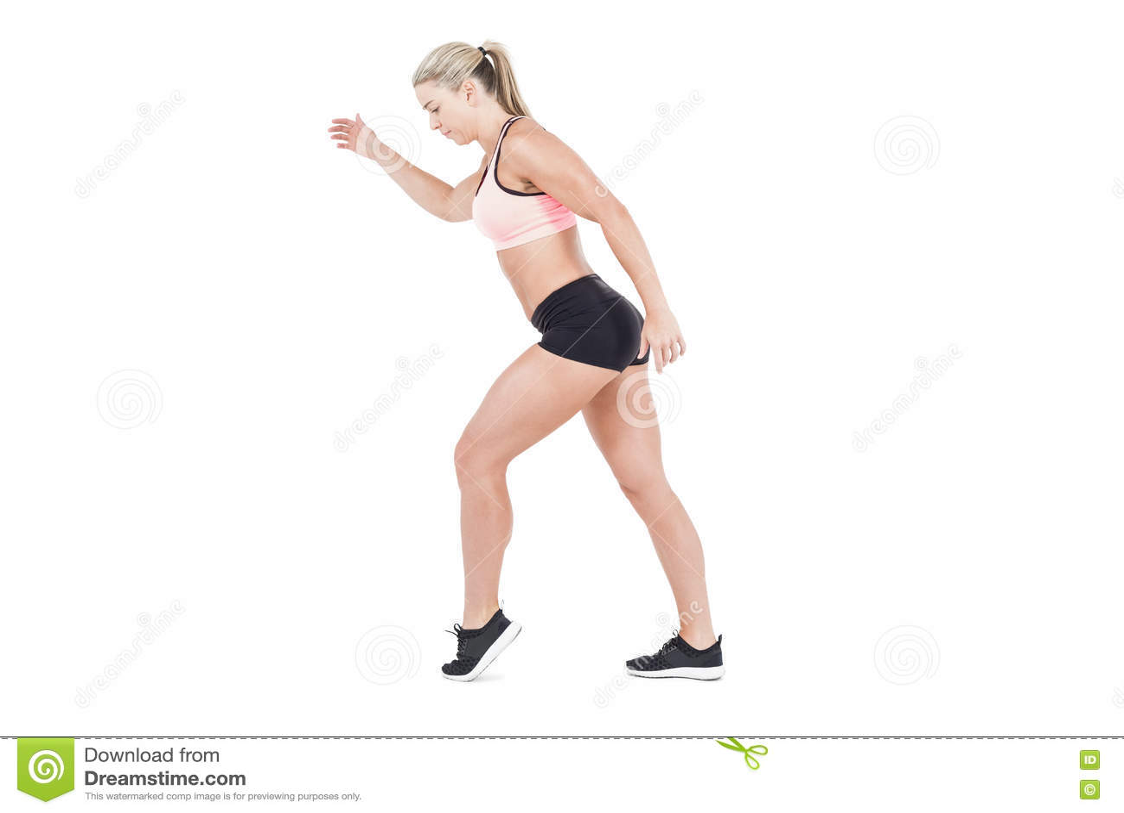Salto Femenino Del Atleta Foto de archivo