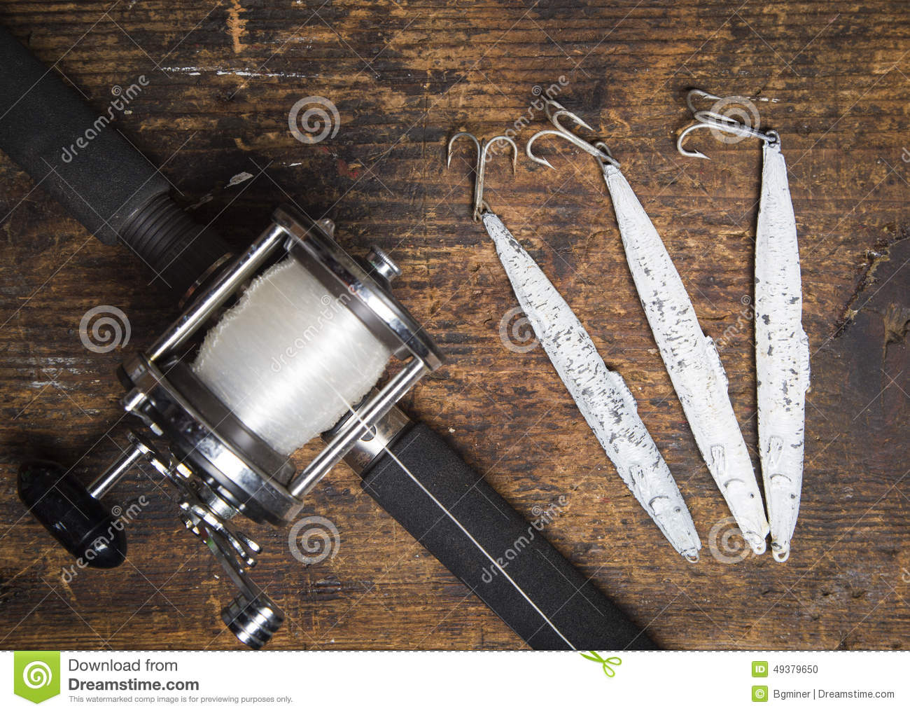 saltwater fishing rod and lures stock photo - image: 49379650, Fishing Rod
