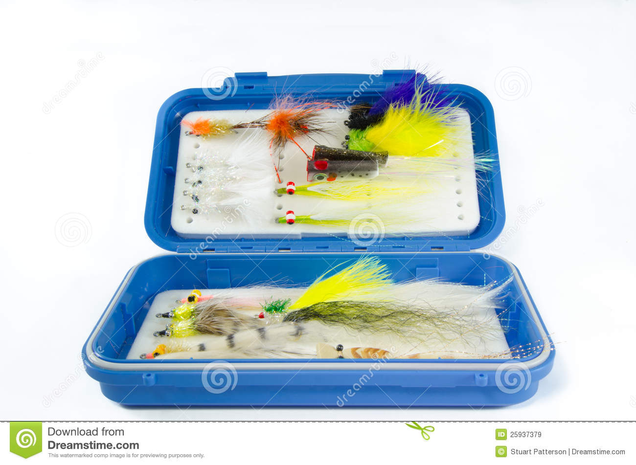 Saltwater Fly Box With Flies Stock Image - Image of marabou