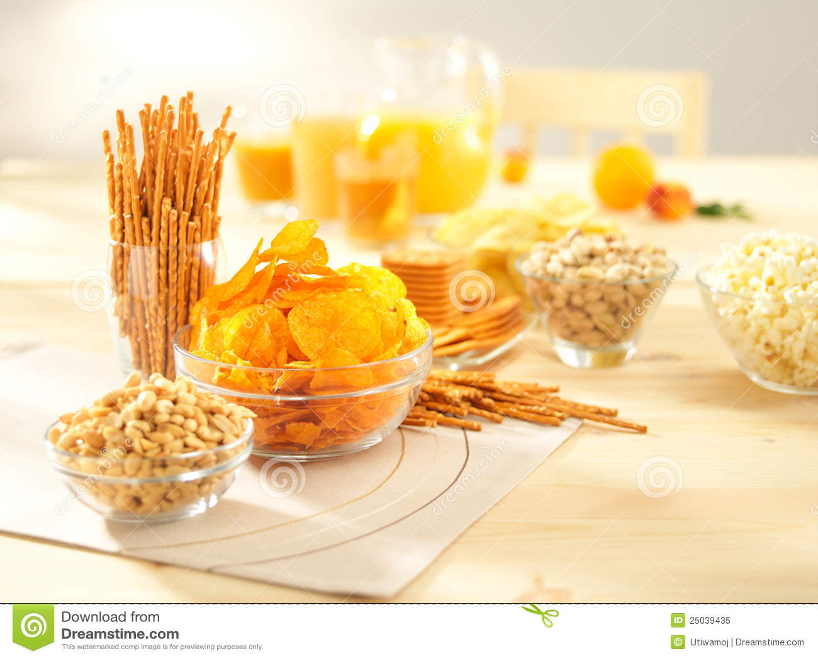 Salty snacks. Pretzels, chips, peanuts, crackers.